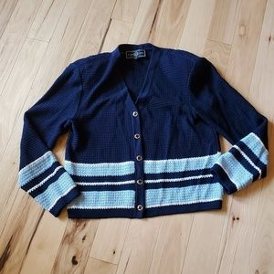 St John S Navy Blue Wool Cardigan White Gold